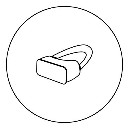 Icono de gafas VR color negro en la ilustración de vector de contorno de círculo
