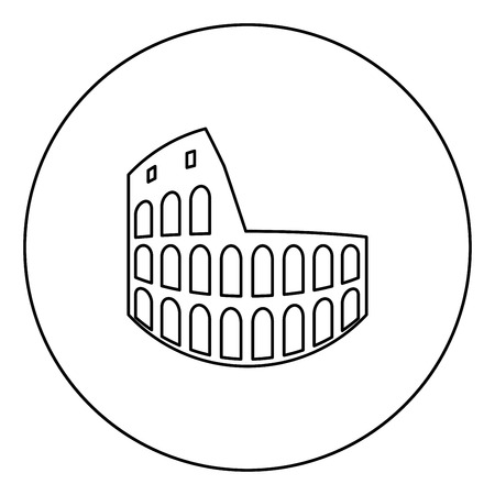 Coliseum black icon in circle outline vector illustration isolated Illustration