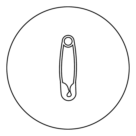 Safety pin black icon in circle outline vector illustration isolated