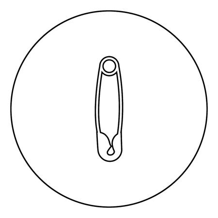 Sicherheitsnadel schwarzes Symbol in Kreisumrissvektorillustration isoliert