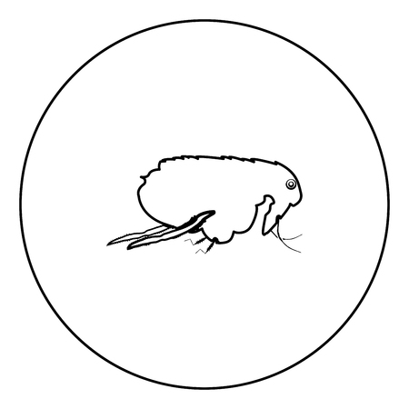 Flea black icon in circle outline vector illustration isolated