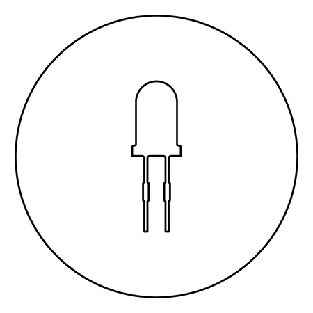 Light diode black icon in circle outline vector illustration isolated