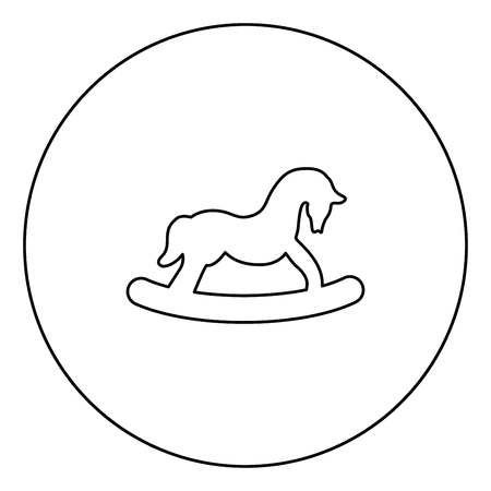 Toy horse black icon in circle outline vector illustration isolated