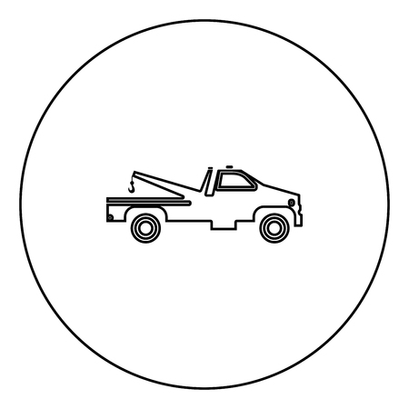 Breakdown truck black icon in circle outline vector illustration isolated