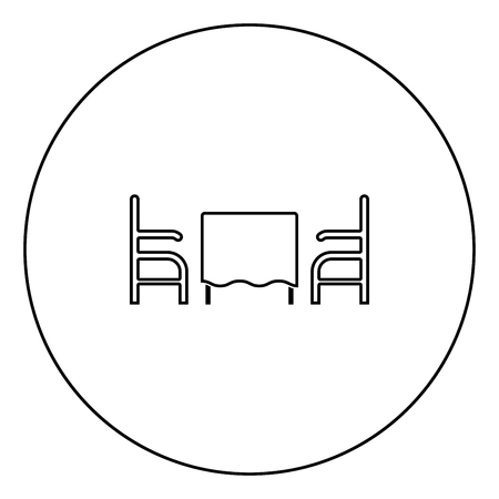 Table and two chair or armchair in restaurant black icon in circle outline vector illustration isolated