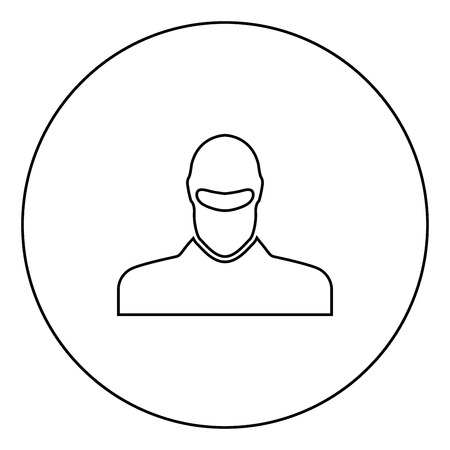 Man in balaclava or pasamontanas black icon in circle outline vector illustration isolated Ilustração