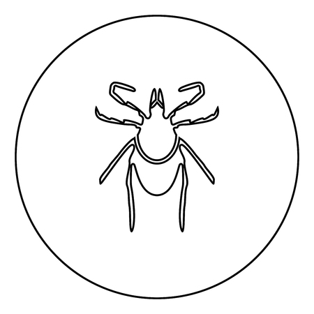 Tick black icon in circle outline vector illustration isolated