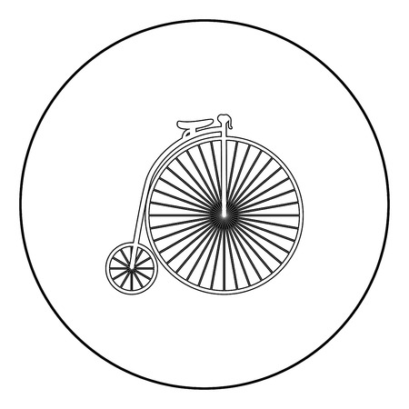 Retro bicycle black icon in circle outline vector illustration isolated