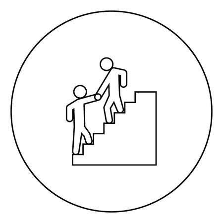 Man helping climb other man black icon in circle outline vector illustration isolated Illustration