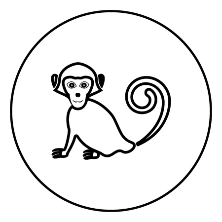 Monkey icon in circle outline vector illustration image