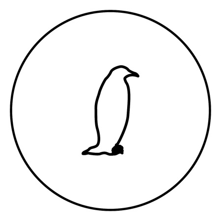 Penguin icon in circle outline vector illustration image