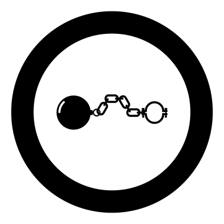 Shackles with ball icon black color in circle round vector illustration