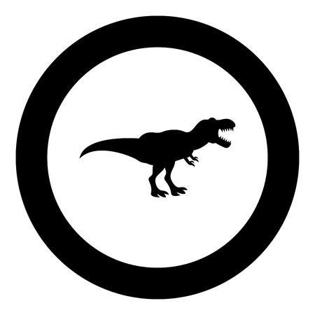 Dinosaur tyrannosaurus t rex icon black color in circle round vector illustration