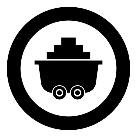 Mine cart or trolley of coal icon black color in circle round vector illustration