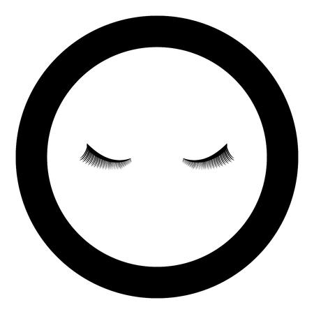 Eyelash icon black color in circle round vector illustration Çizim