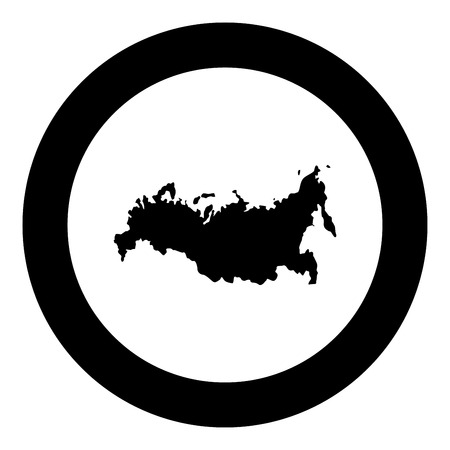Map of Russian icon black color in circle round vector illustration Illustration