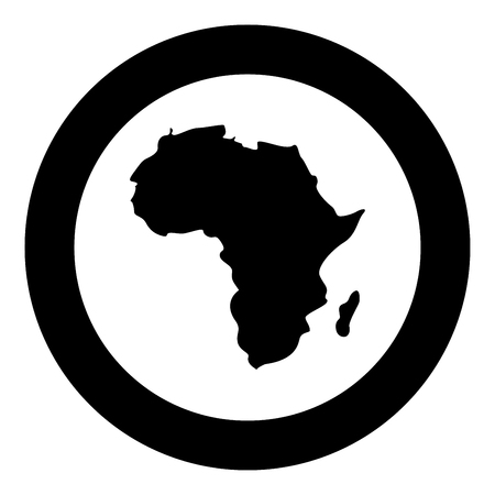 Map of Africa icon black color in circle round vector illustration Standard-Bild - 102869139