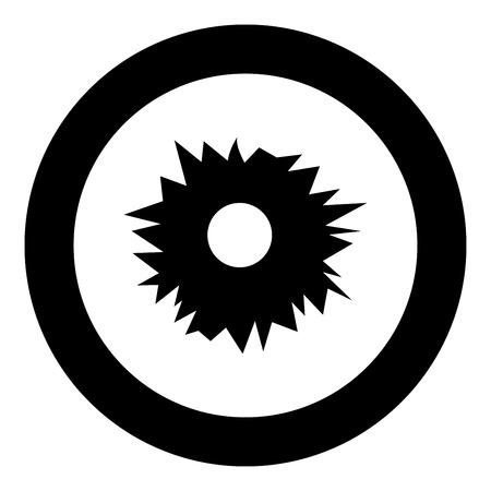 Agujero del icono de disparo de color negro en círculo ilustración vectorial