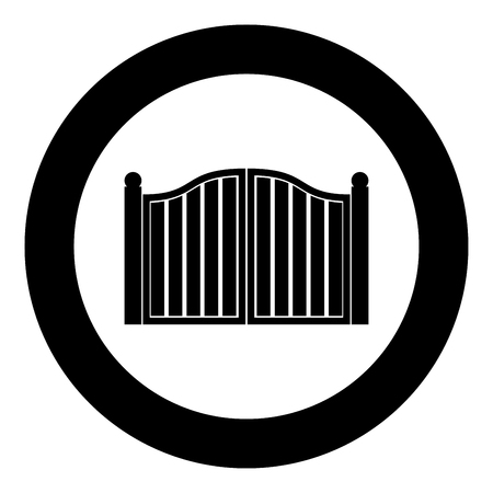 Old gate icon black color in circle round vector illustration Stock Illustratie
