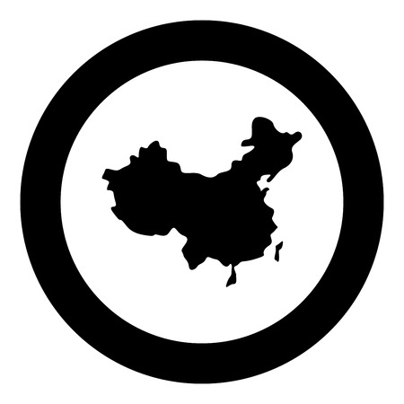 Map of China icon black color in circle round vector illustration