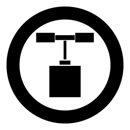 Detonator pictogram zwarte kleur in cirkel ronde vectorillustratie