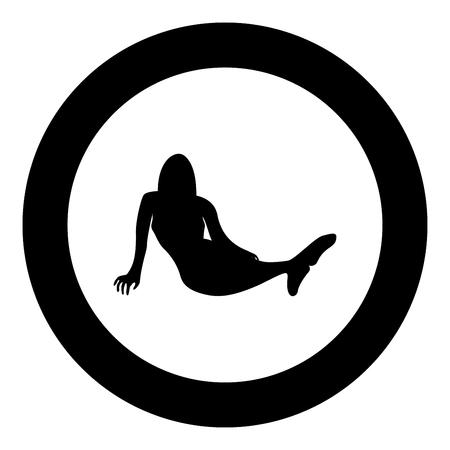 Mermaid icon black color in circle round vector illustration