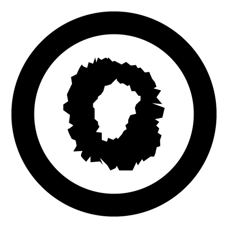 Hole in the surface icon black color in circle round vector illustration