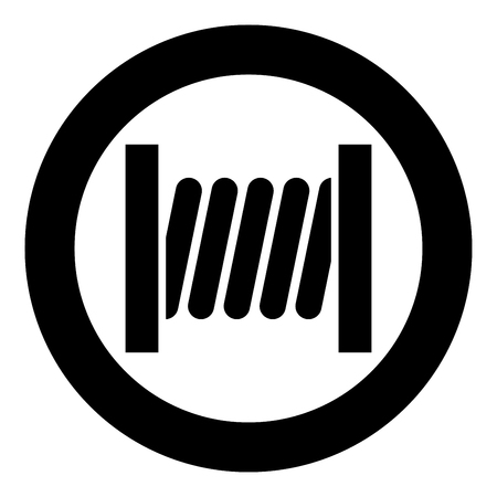 Coil with wire icon black color in circle round vector illustration Çizim