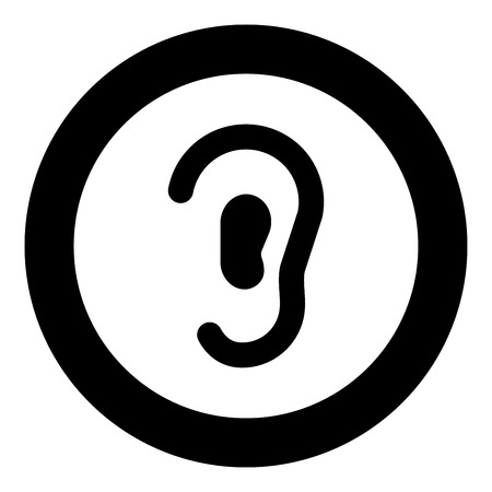 Ear icon black color in circle round vector illustration