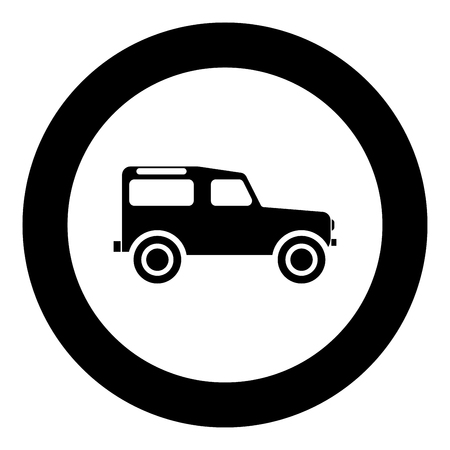 Off road vehicle icon black color in circle round vector illustration Illustration