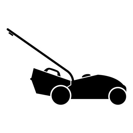 Lawn mower icon black color vector illustration flat style simple image Stock Illustratie