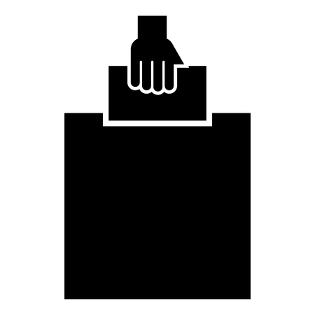 Hand puts a blank in a box for suggestion the voter throws a ticket icon black color vector illustration flat style simple image
