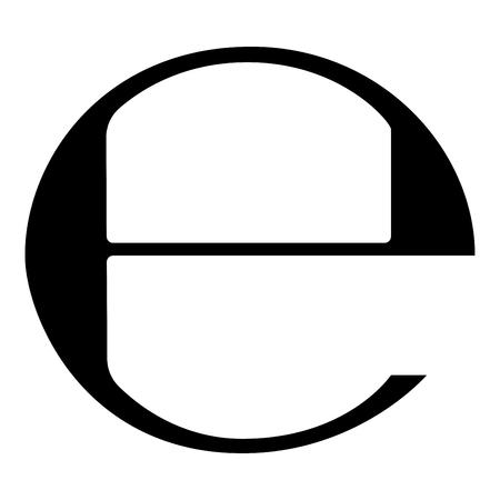 Estimated sign E mark symbol e icon black color vector illustration flat style simple image Ilustração Vetorial