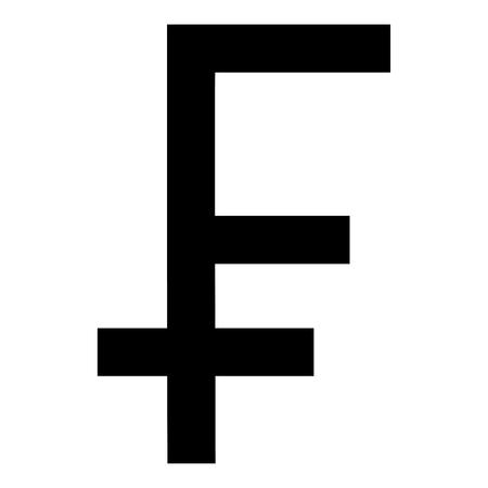 Franc symbol icon black color vector illustration flat style simple image
