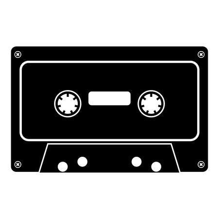 Icône de cassette audio rétro couleur noire illustration vectorielle style plat simple image Vecteurs