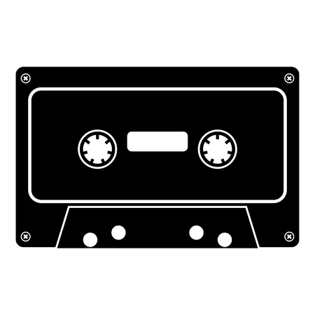 Retro audio cassette icon black color vector illustration flat style simple image