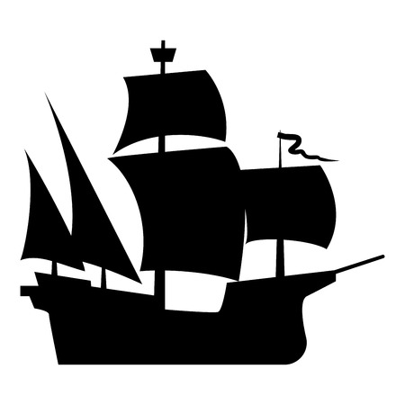 Medieval ship icon black color vector illustration flat style simple image
