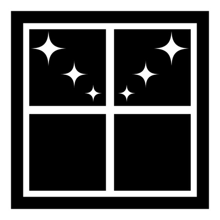 Window overlooking the night stars icon black color vector illustration flat style simple image  イラスト・ベクター素材