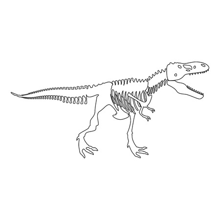 Dinosaur skeleton T rex icon black color vector illustration flat style simple image Illustration