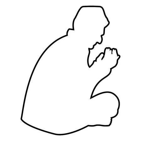 Biddende moslim pictogram zwarte kleur vector illustratie vlakke stijl eenvoudige afbeelding