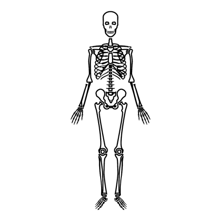 Human skeleton icon black color vector illustration flat style simple image