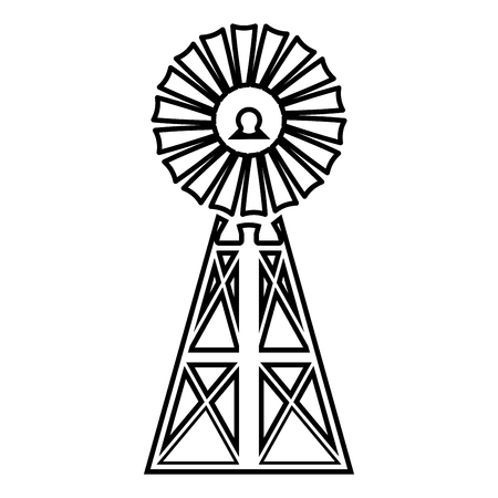 Wind turbine windmill classic american icon black color vector illustration flat style simple image