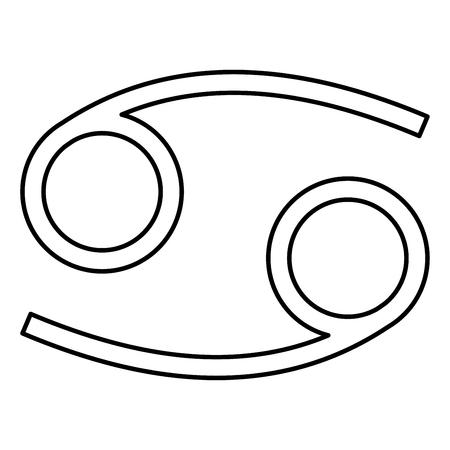 Kanker dierenriem symbool rivierkreeft teken zwarte kleur vector illustratie vlakke stijl eenvoudig pictogramafbeelding Vector Illustratie