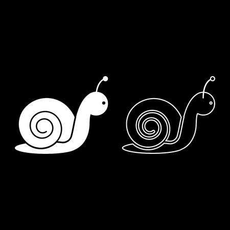 Snail icon set white color vector illustration flat style simple image