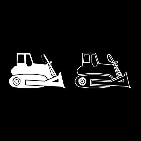 Bulldozer icon set white color vector illustration flat style simple image