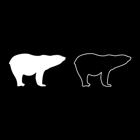 Polar bear icon set white color vector illustration flat style simple image Illustration