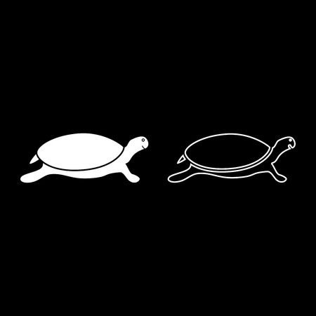 Tortoise turtle icon set white color vector illustration flat style simple image 向量圖像