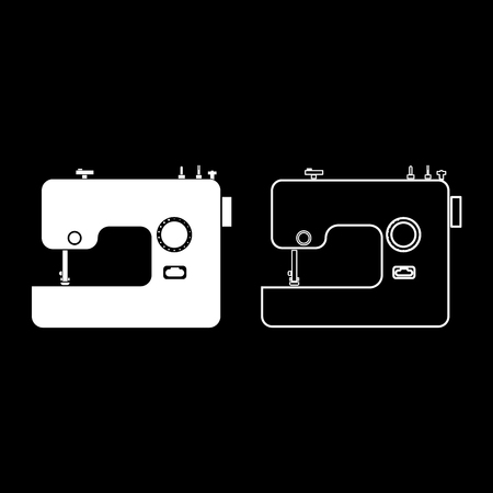 Sewing machine icon set white color vector illustration flat style simple image Vettoriali