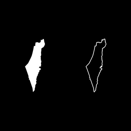 Map of Israel icon set white color vector illustration flat style simple image Illustration