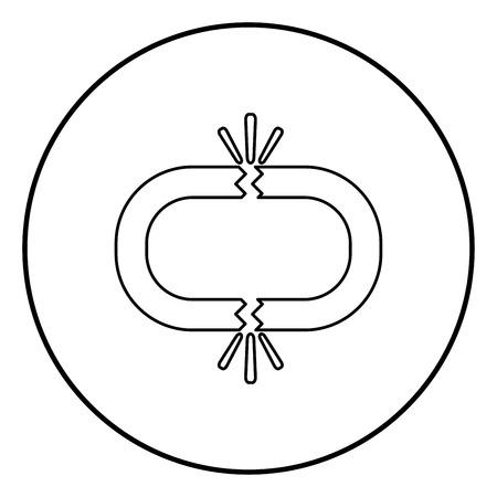 Broken link icon black color in circle round outline 일러스트